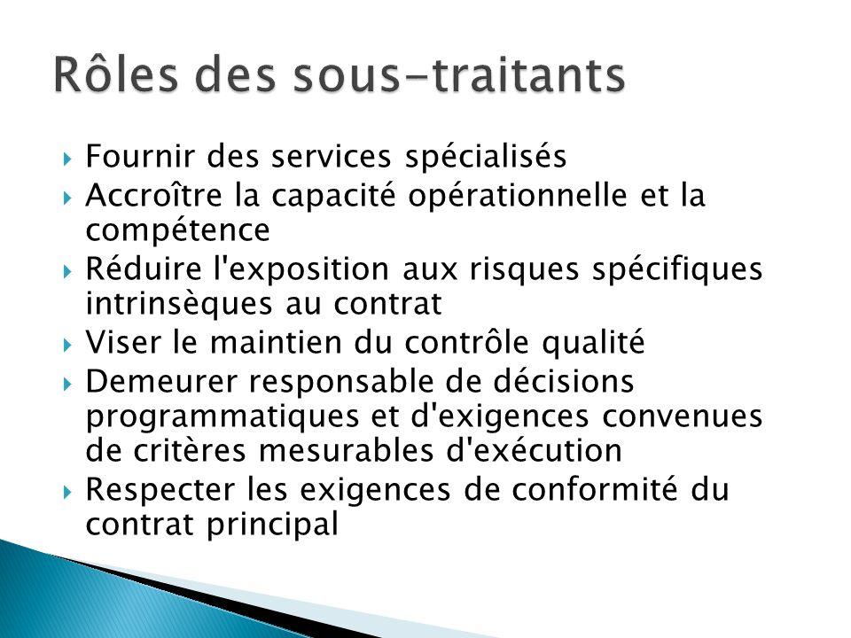  Fournir des services spécialisés  Accroître la capacité opérationnelle et la compétence  Réduire l'exposition aux risques spécifiques intrinsèques