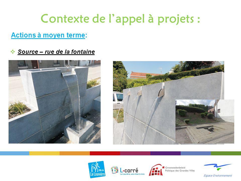 Actions à moyen terme: Contexte de l'appel à projets :  Source – rue de la fontaine