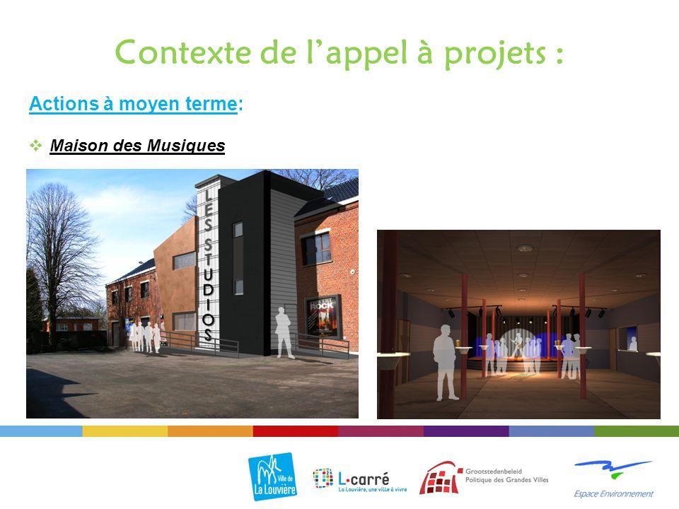 Actions à moyen terme: Contexte de l'appel à projets :  Maison des Musiques