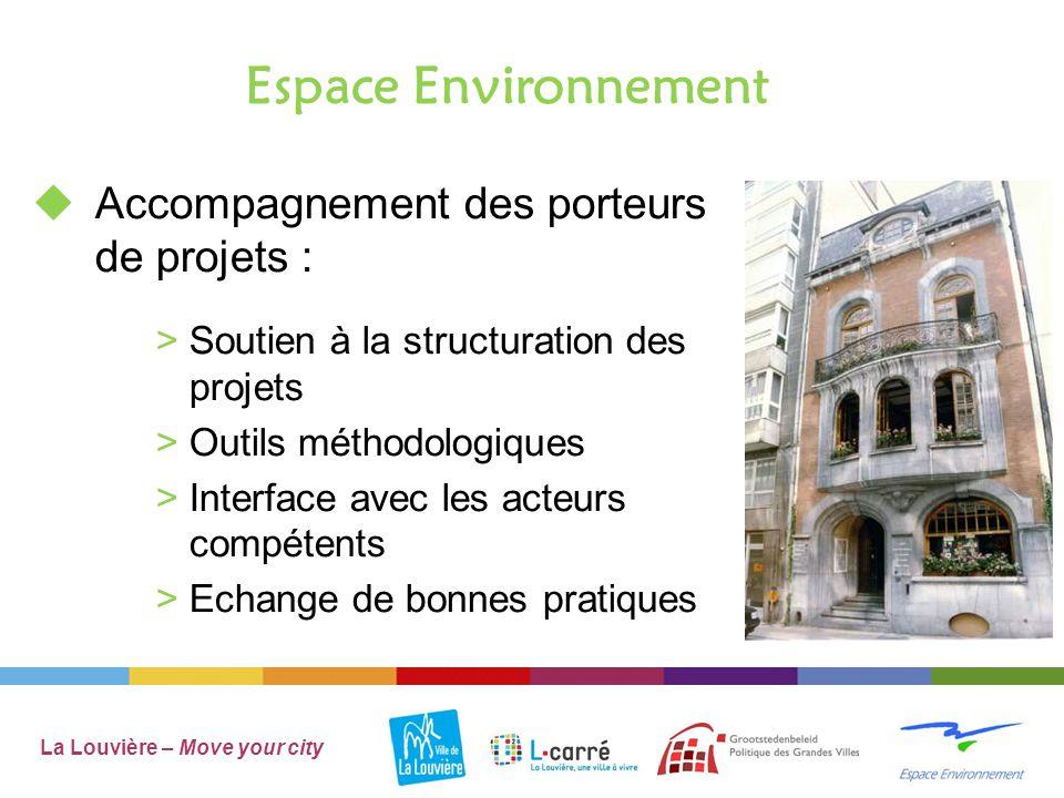 Espace Environnement La Louvière – Move your city  Accompagnement des porteurs de projets : >Soutien à la structuration des projets >Outils méthodologiques >Interface avec les acteurs compétents >Echange de bonnes pratiques
