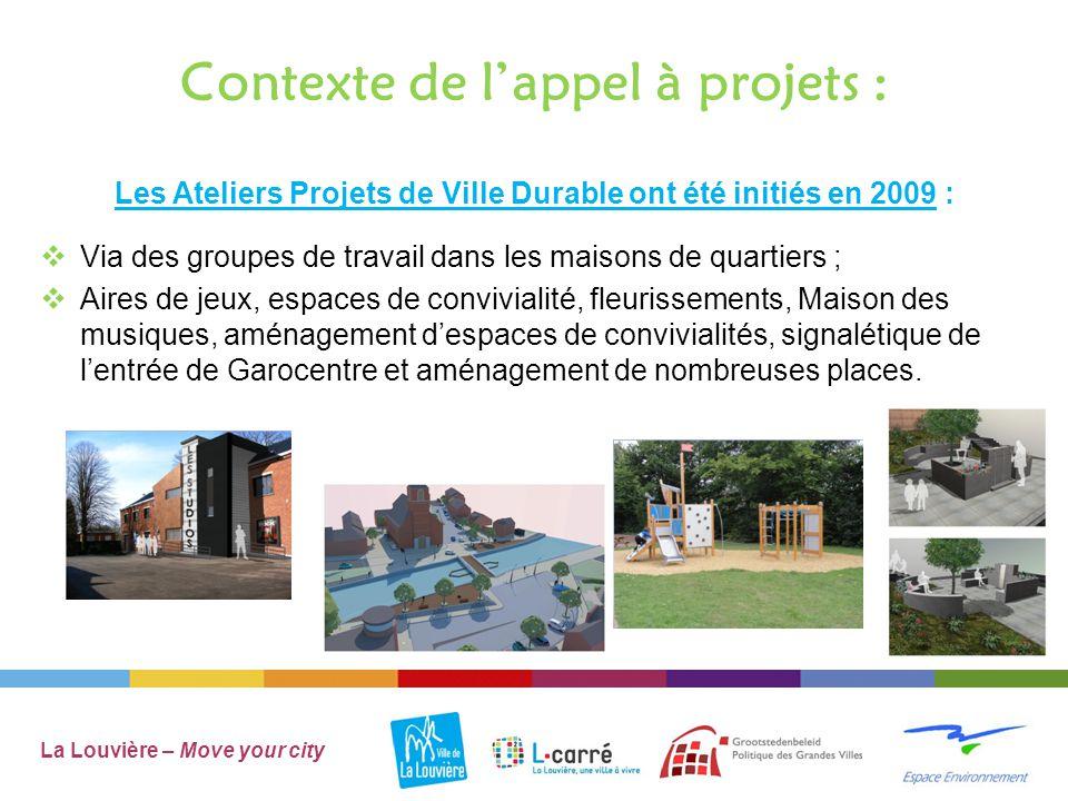 Nouvel appel à projet :  En 2014 l'objectif est de cibler les jeunes Louviérois de « 18 à30 ans » La Louvière – Move your city Move your city