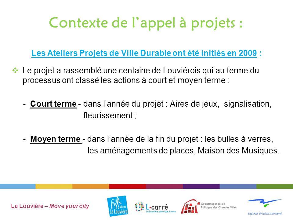 Contexte de l'appel à projets : Actions à court terme: La Louvière – Move your city  Signalisation Garocentre