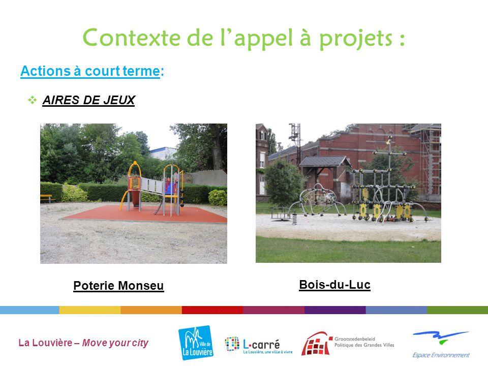 Contexte de l'appel à projets : La Louvière – Move your city  AIRES DE JEUX Actions à court terme: TrivièresJean-Jaures à Haine-St-Paul