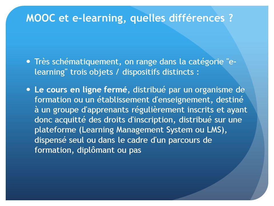 MOOC et e-learning, quelles différences ? Très schématiquement, on range dans la catégorie