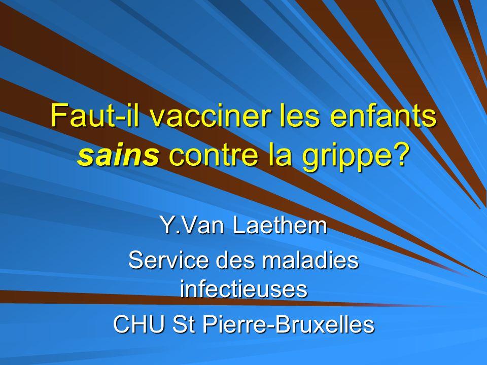 Faut-il vacciner les enfants sains contre la grippe? Y.Van Laethem Service des maladies infectieuses CHU St Pierre-Bruxelles