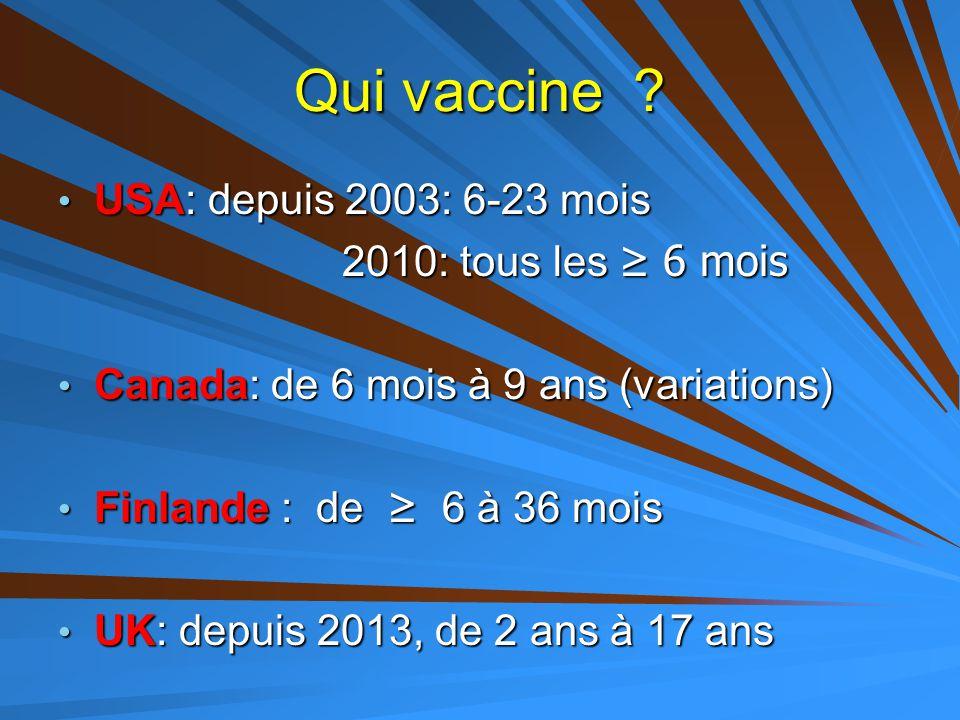 Qui vaccine ? USA: depuis 2003: 6-23 mois USA: depuis 2003: 6-23 mois 2010: tous les ≥ 6 mois 2010: tous les ≥ 6 mois Canada: de 6 mois à 9 ans (varia
