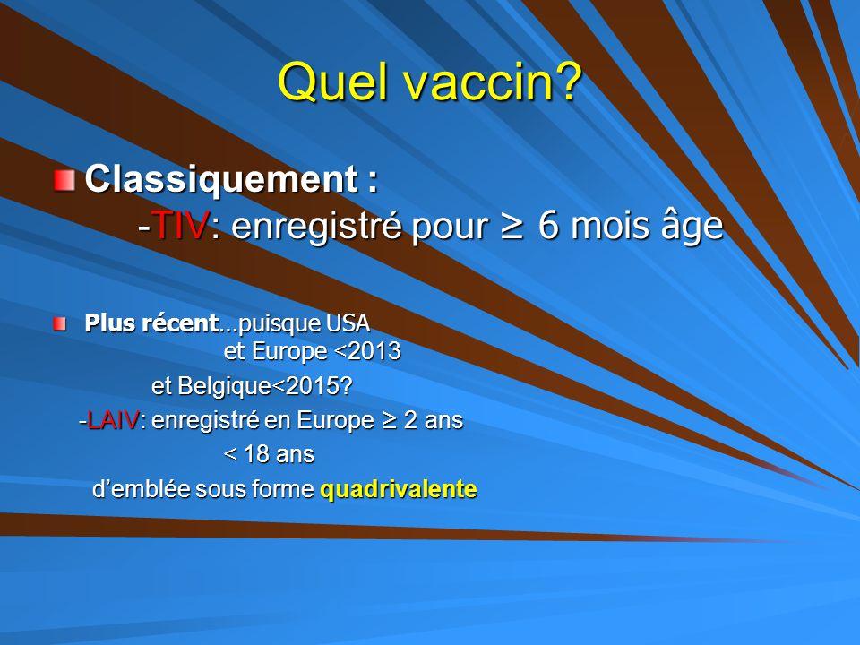 Quel vaccin? Classiquement : -TIV: enregistré pour ≥ 6 mois âge Plus récent…puisque USA et Europe <2013 et Belgique<2015? et Belgique<2015? -LAIV: enr