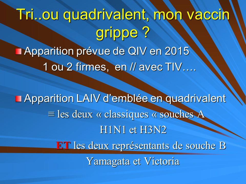 Tri..ou quadrivalent, mon vaccin grippe ? Apparition prévue de QIV en 2015 1 ou 2 firmes, en // avec TIV…. 1 ou 2 firmes, en // avec TIV…. Apparition