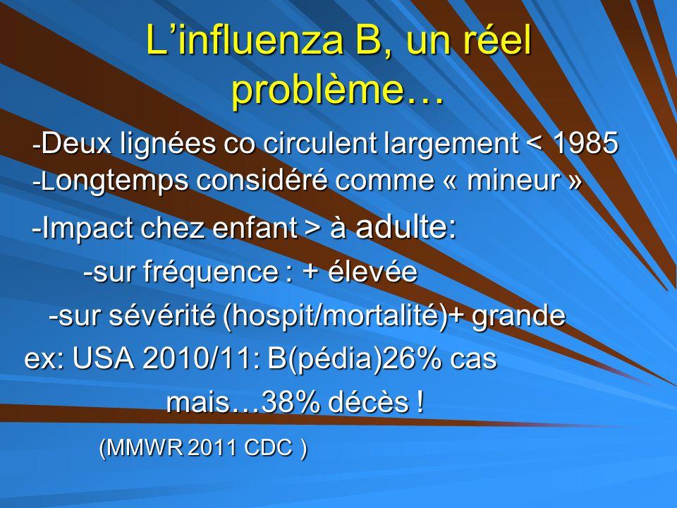 L'influenza B, un réel problème… - Deux lignées co circulent largement < 1985 -L ongtemps considéré comme « mineur » -Impact chez enfant > à adulte: -