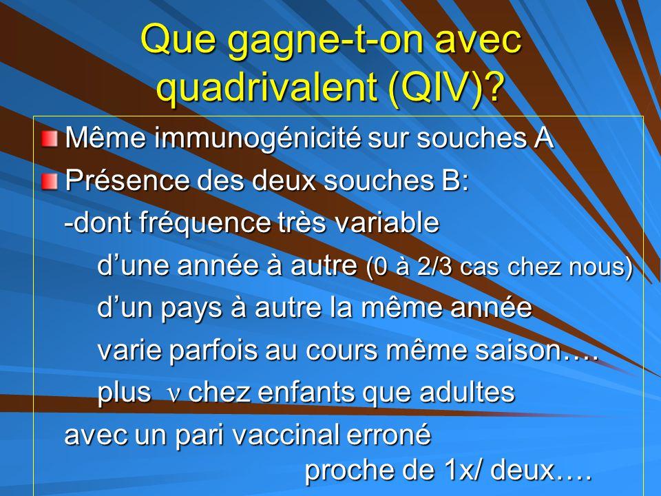 Que gagne-t-on avec quadrivalent (QIV)? Même immunogénicité sur souches A Présence des deux souches B: -dont fréquence très variable -dont fréquence t