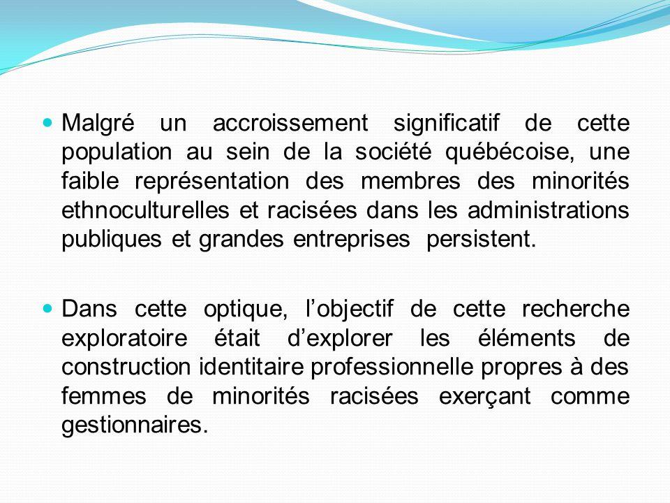 Malgré un accroissement significatif de cette population au sein de la société québécoise, une faible représentation des membres des minorités ethnocu