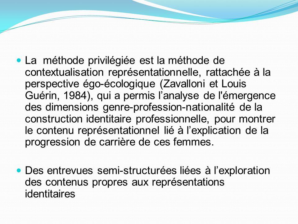 La méthode privilégiée est la méthode de contextualisation représentationnelle, rattachée à la perspective égo-écologique (Zavalloni et Louis Guérin,