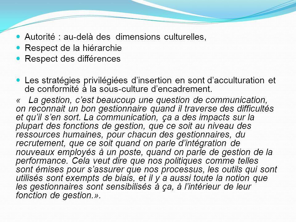 Autorité : au-delà des dimensions culturelles, Respect de la hiérarchie Respect des différences Les stratégies privilégiées d'insertion en sont d'accu
