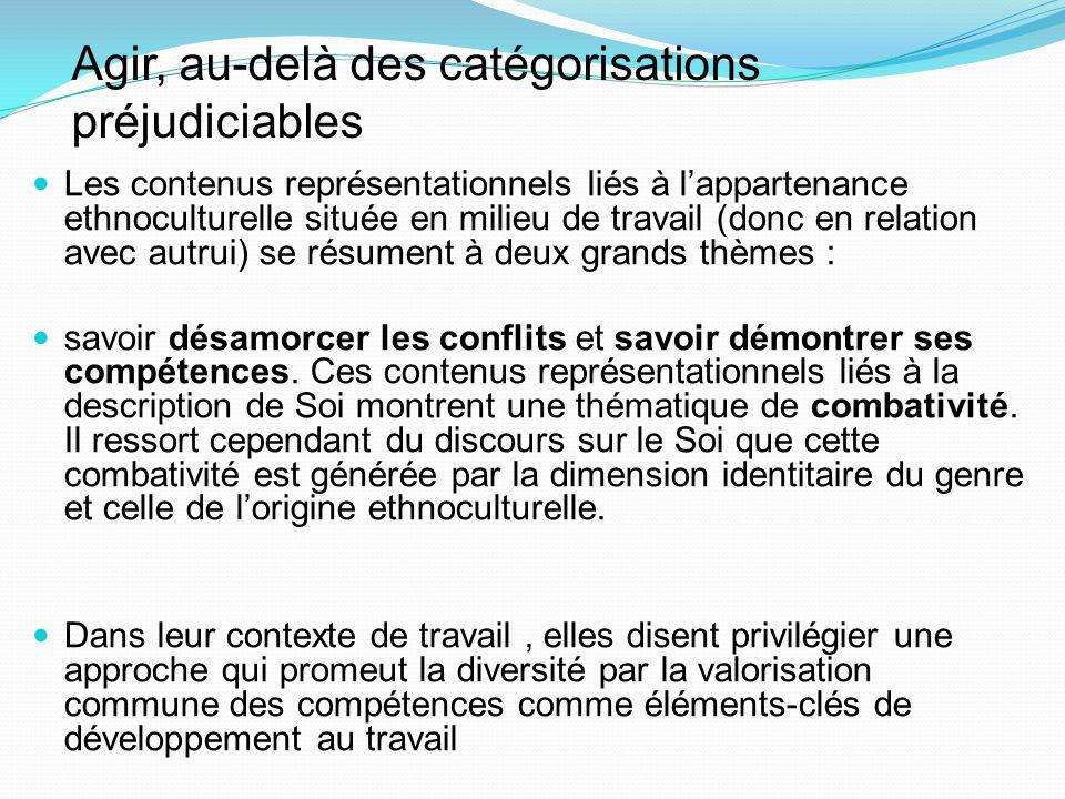 Agir, au-delà des catégorisations préjudiciables Les contenus représentationnels liés à l'appartenance ethnoculturelle située en milieu de travail (do