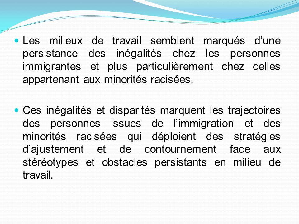Quels sont les effets de la combinaison des catégories immigré, minorité racisée et genre sur les stratégies d'insertion et de transformation des milieux de travail .
