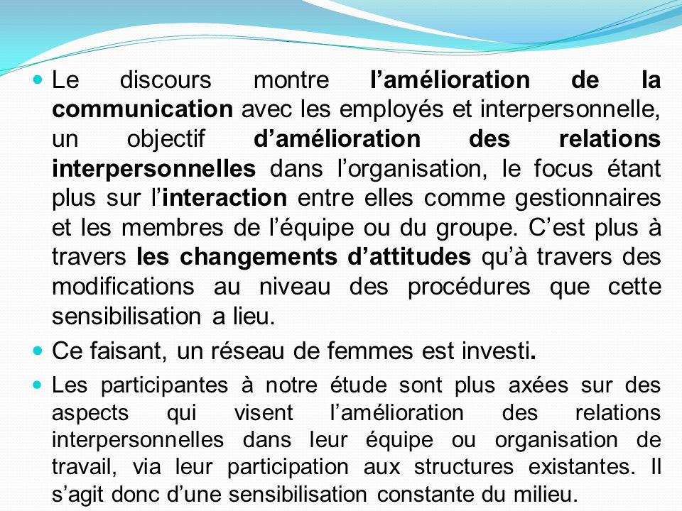 Le discours montre l'amélioration de la communication avec les employés et interpersonnelle, un objectif d'amélioration des relations interpersonnelle