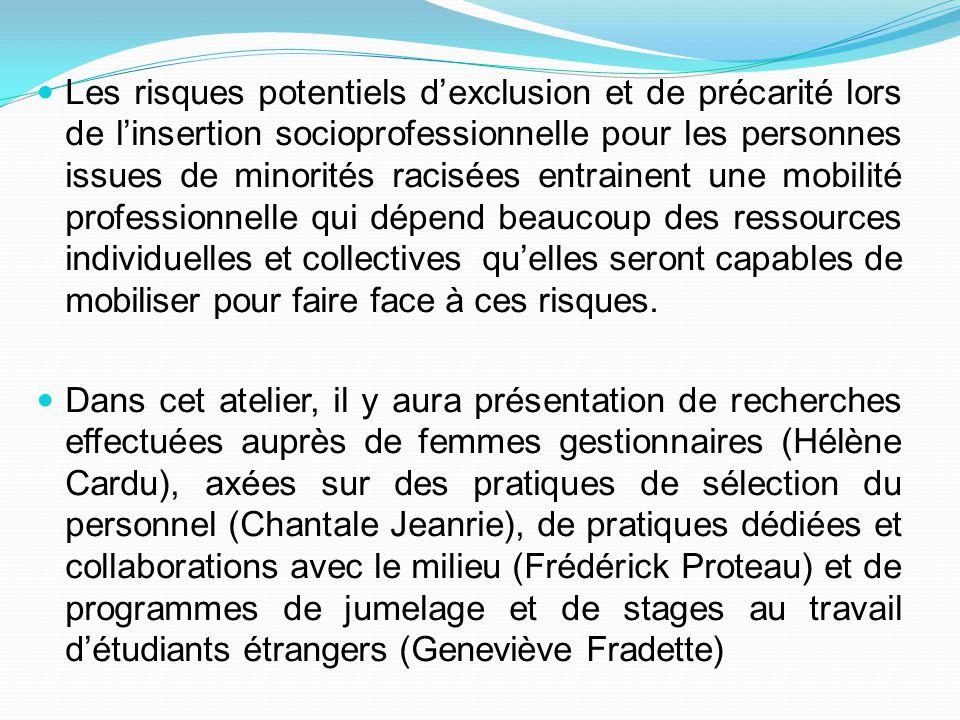 Genre et construction de milieux de travail inclusifs: l'expérience professionnelle de femmes gestionnaires issues de l'immigration et de minorités racisées Hélène Cardu Université Laval