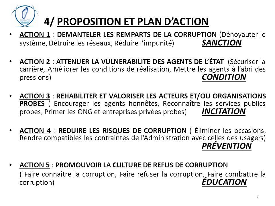 4/ PROPOSITION ET PLAN D'ACTION ACTION 1 : DEMANTELER LES REMPARTS DE LA CORRUPTION (Dénoyauter le système, Détruire les réseaux, Réduire l'impunité) SANCTION ACTION 2 : ATTENUER LA VULNERABILITE DES AGENTS DE L'ÉTAT (Sécuriser la carrière, Améliorer les conditions de réalisation, Mettre les agents à l'abri des pressions) CONDITION ACTION 3 : REHABILITER ET VALORISER LES ACTEURS ET/OU ORGANISATIONS PROBES ( Encourager les agents honnêtes, Reconnaître les services publics probes, Primer les ONG et entreprises privées probes) INCITATION ACTION 4 : REDUIRE LES RISQUES DE CORRUPTION ( Éliminer les occasions, Rendre compatibles les contraintes de l'Administration avec celles des usagers) PRÉVENTION ACTION 5 : PROMOUVOIR LA CULTURE DE REFUS DE CORRUPTION ( Faire connaître la corruption, Faire refuser la corruption, Faire combattre la corruption) ÉDUCATION 7