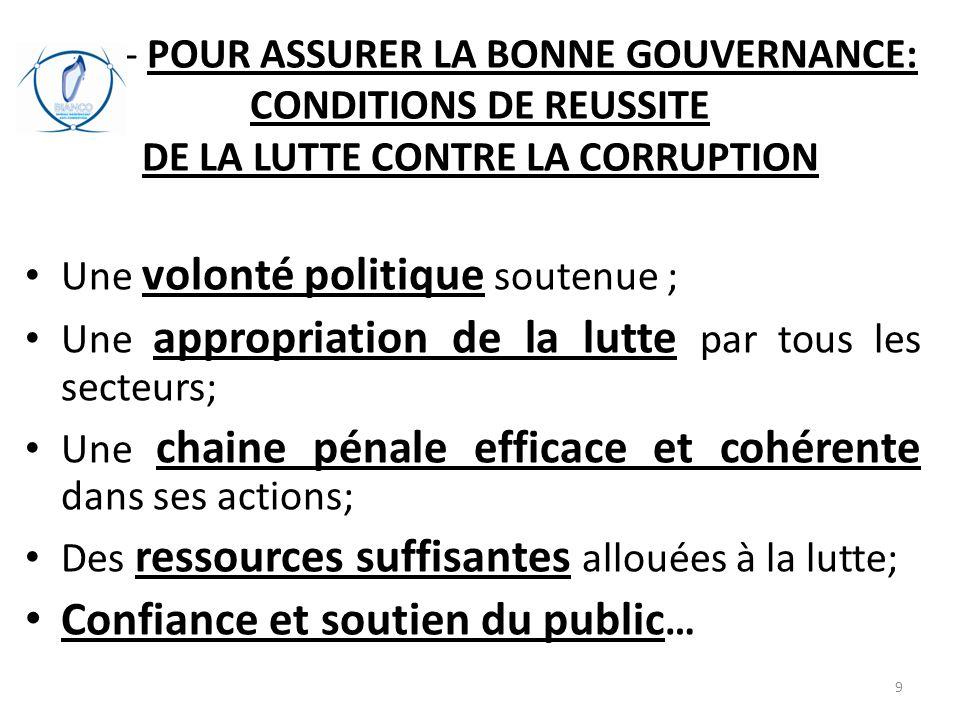 B/-- POUR ASSURER LA BONNE GOUVERNANCE: CONDITIONS DE REUSSITE DE LA LUTTE CONTRE LA CORRUPTION Une volonté politique soutenue ; Une appropriation de