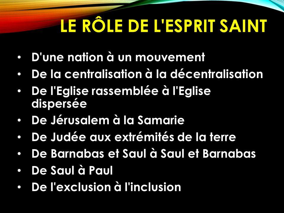 LE RÔLE DE L'ESPRIT SAINT D'une nation à un mouvement De la centralisation à la décentralisation De l'Eglise rassemblée à l'Eglise dispersée De Jérusa