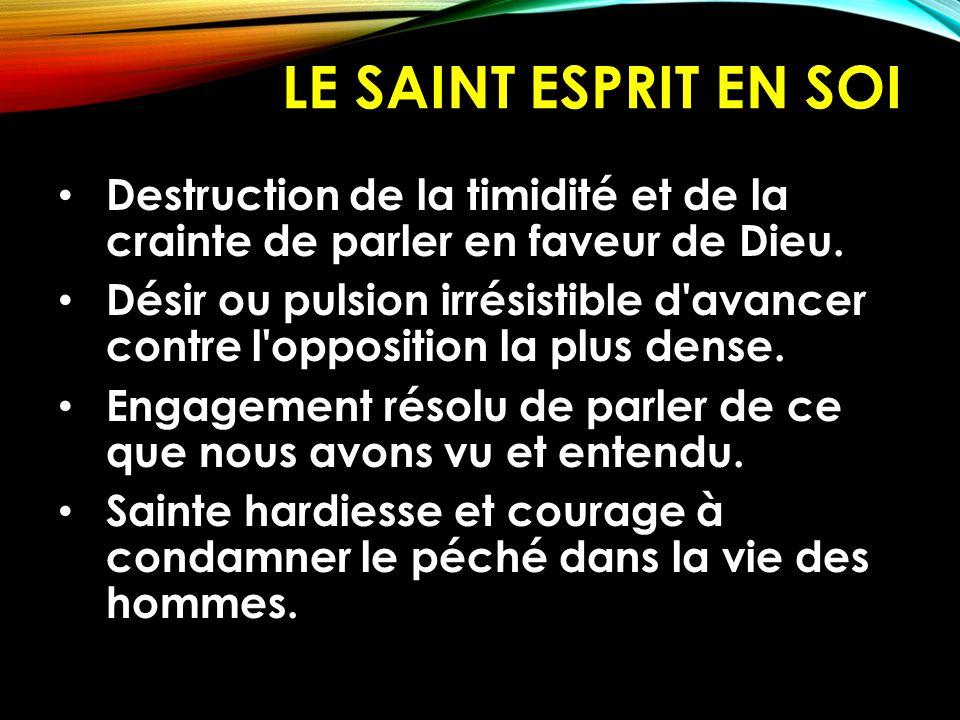 LE SAINT ESPRIT EN SOI C EST L Autorité spirituelle pour mener le ministère dans le monde.