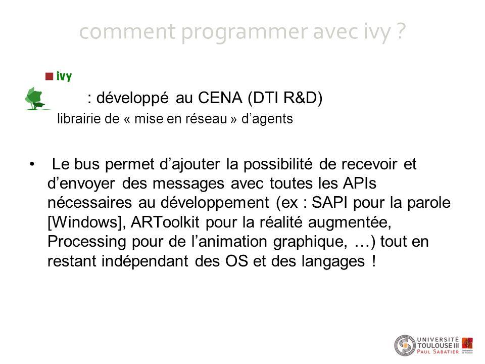 comment programmer avec ivy ? : développé au CENA (DTI R&D) librairie de « mise en réseau » d'agents Le bus permet d'ajouter la possibilité de recevoi