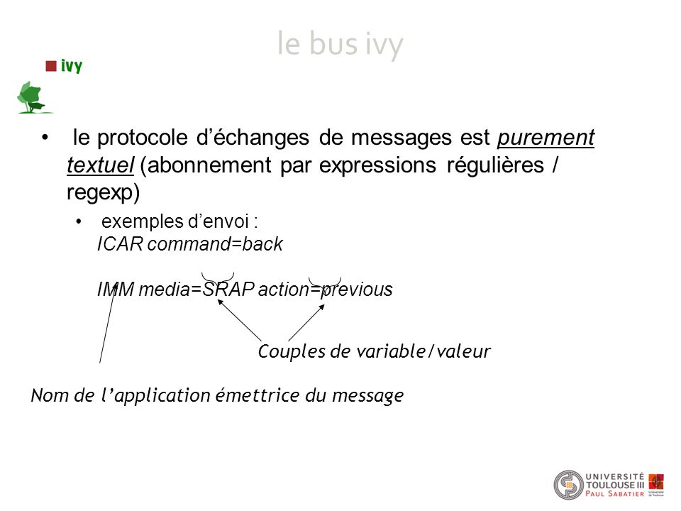 le bus ivy le protocole d'échanges de messages est purement textuel (abonnement par expressions régulières / regexp) exemples d'envoi : ICAR command=back IMM media=SRAP action=previous Nom de l'application émettrice du message Couples de variable/valeur