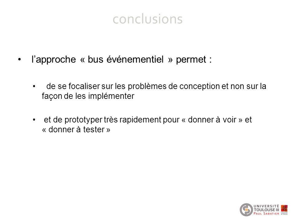 conclusions l'approche « bus événementiel » permet : de se focaliser sur les problèmes de conception et non sur la façon de les implémenter et de prot