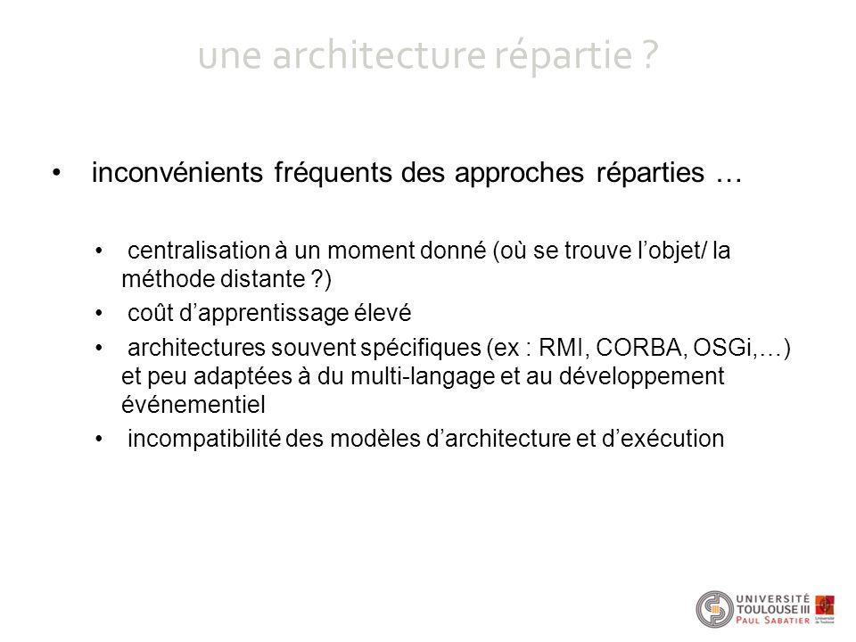 une architecture répartie ? inconvénients fréquents des approches réparties … centralisation à un moment donné (où se trouve l'objet/ la méthode dista