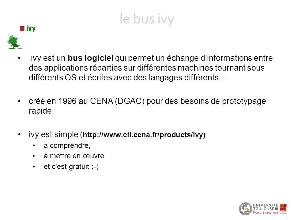 le bus ivy ivy est un bus logiciel qui permet un échange d'informations entre des applications réparties sur différentes machines tournant sous différ
