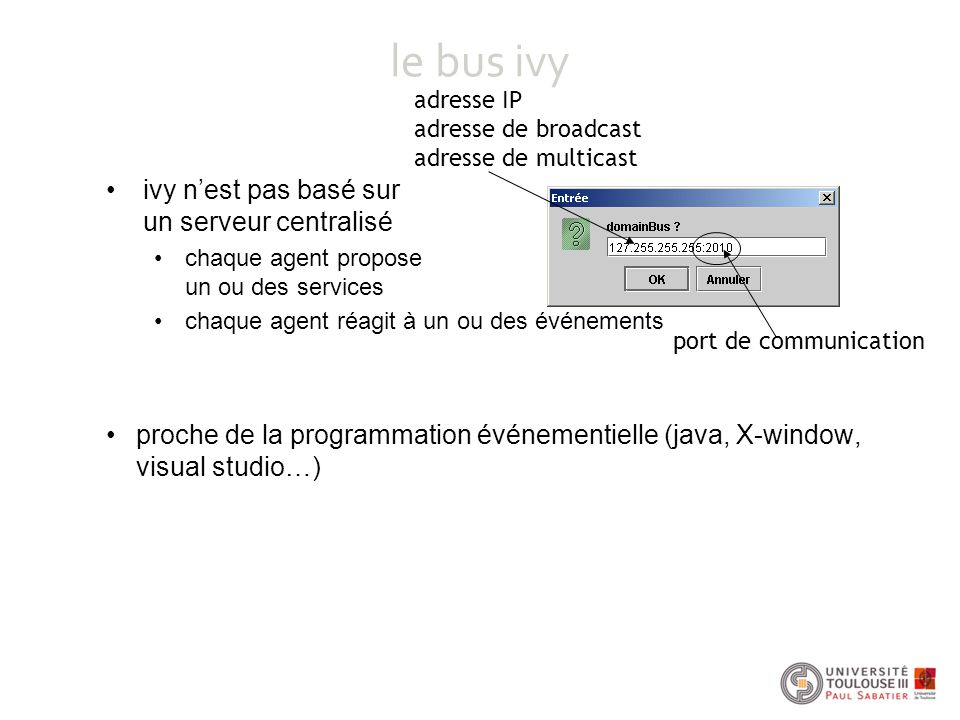 le bus ivy ivy n'est pas basé sur un serveur centralisé chaque agent propose un ou des services chaque agent réagit à un ou des événements proche de la programmation événementielle (java, X-window, visual studio…) adresse IP adresse de broadcast adresse de multicast port de communication