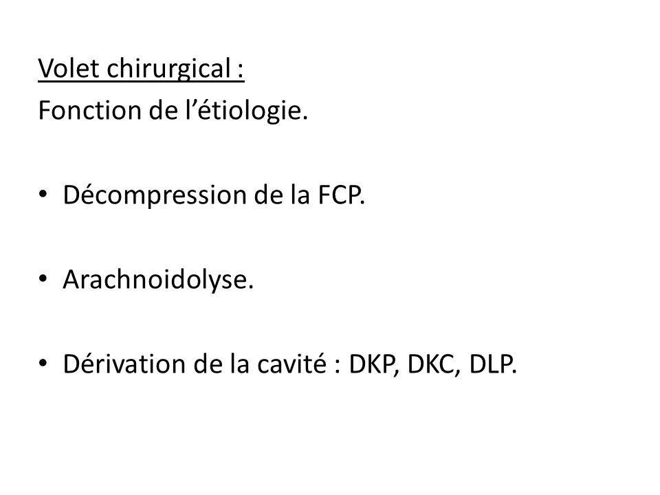 Volet chirurgical : Fonction de l'étiologie. Décompression de la FCP. Arachnoidolyse. Dérivation de la cavité : DKP, DKC, DLP.