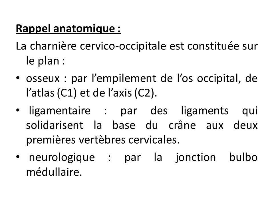 Rappel anatomique : La charnière cervico-occipitale est constituée sur le plan : osseux : par l'empilement de l'os occipital, de l'atlas (C1) et de l'axis (C2).