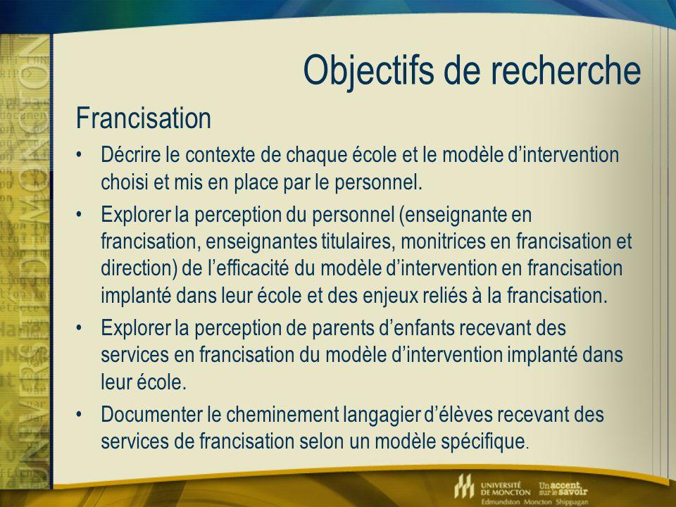 Objectifs de recherche Francisation Décrire le contexte de chaque école et le modèle d'intervention choisi et mis en place par le personnel. Explorer