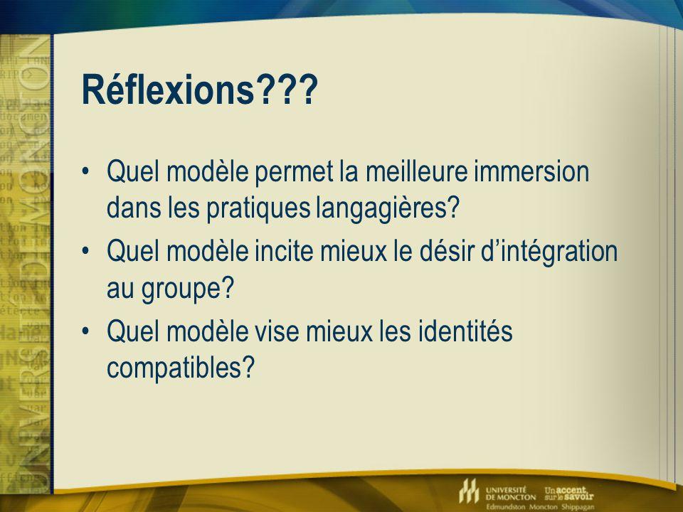 Réflexions??? Quel modèle permet la meilleure immersion dans les pratiques langagières? Quel modèle incite mieux le désir d'intégration au groupe? Que