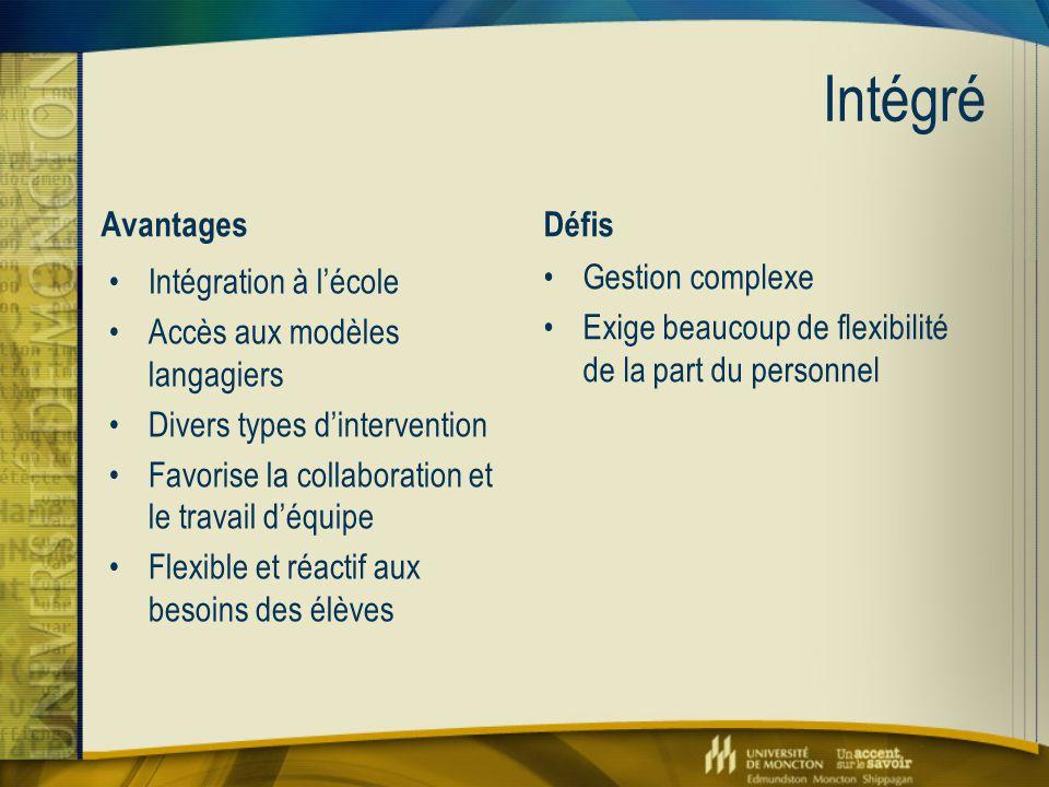 Intégré Avantages Intégration à l'école Accès aux modèles langagiers Divers types d'intervention Favorise la collaboration et le travail d'équipe Flex