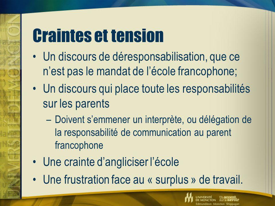 Craintes et tension Un discours de déresponsabilisation, que ce n'est pas le mandat de l'école francophone; Un discours qui place toute les responsabi