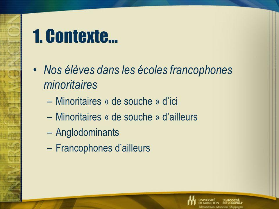 1. Contexte… Nos élèves dans les écoles francophones minoritaires –Minoritaires « de souche » d'ici –Minoritaires « de souche » d'ailleurs –Anglodomin
