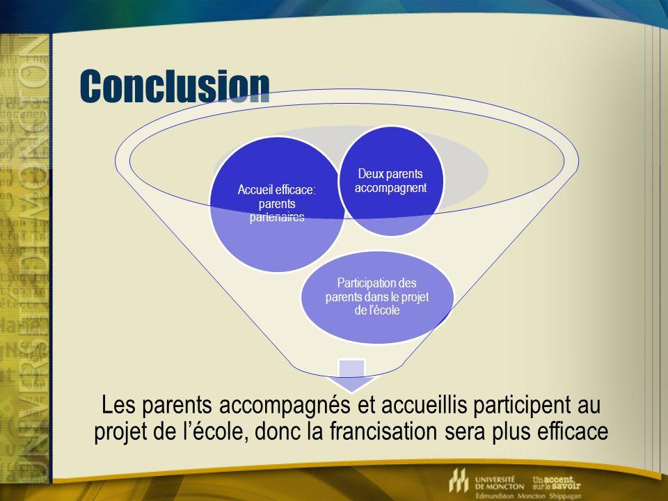 Conclusion Les parents accompagnés et accueillis participent au projet de l'école, donc la francisation sera plus efficace Participation des parents d