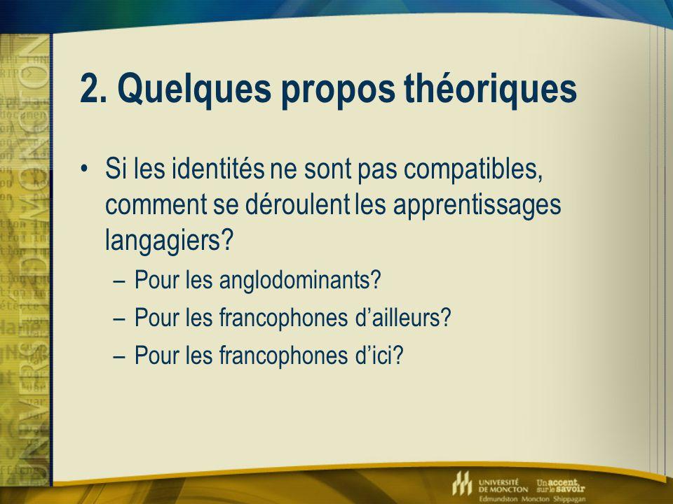 2. Quelques propos théoriques Si les identités ne sont pas compatibles, comment se déroulent les apprentissages langagiers? –Pour les anglodominants?