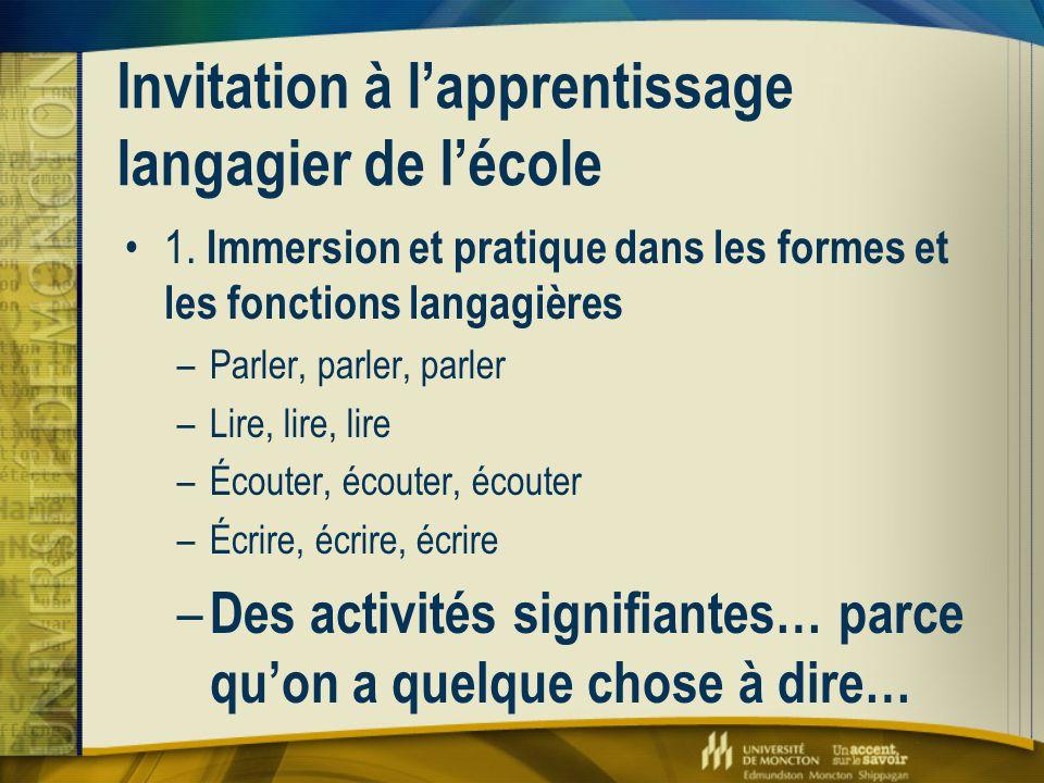 Invitation à l'apprentissage langagier de l'école 1. Immersion et pratique dans les formes et les fonctions langagières –Parler, parler, parler –Lire,