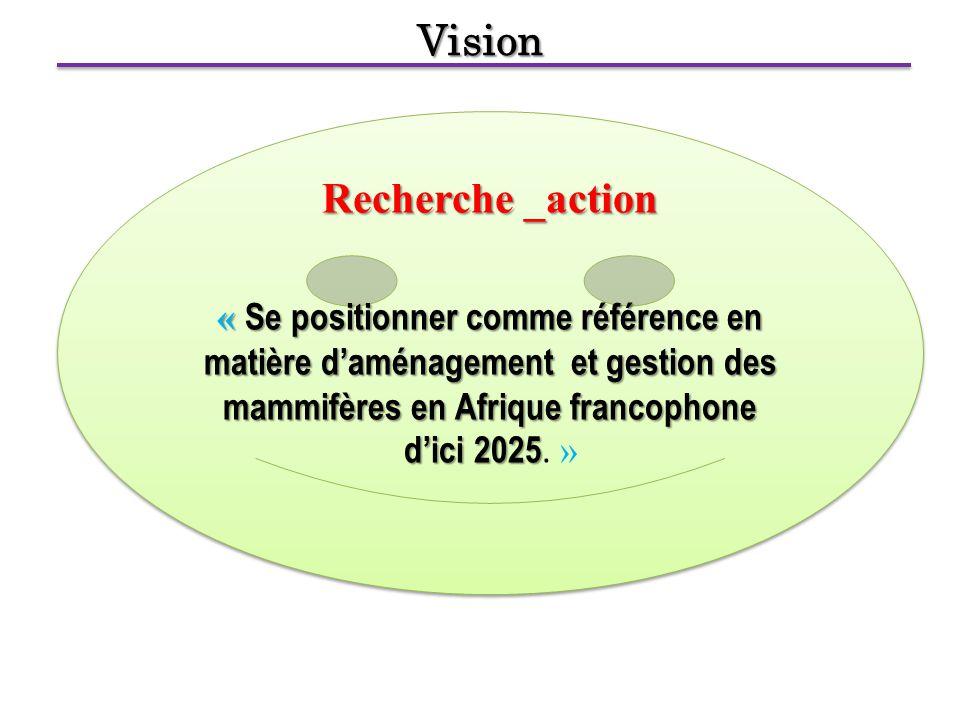 Vision Recherche _action « Se positionner comme référence en matière d'aménagement et gestion des mammifères en Afrique francophone d'ici 2025 « Se positionner comme référence en matière d'aménagement et gestion des mammifères en Afrique francophone d'ici 2025.