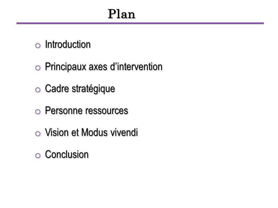 Plan o Introduction o Principaux axes d'intervention o Cadre stratégique o Personne ressources o Vision et Modus vivendi o Conclusion