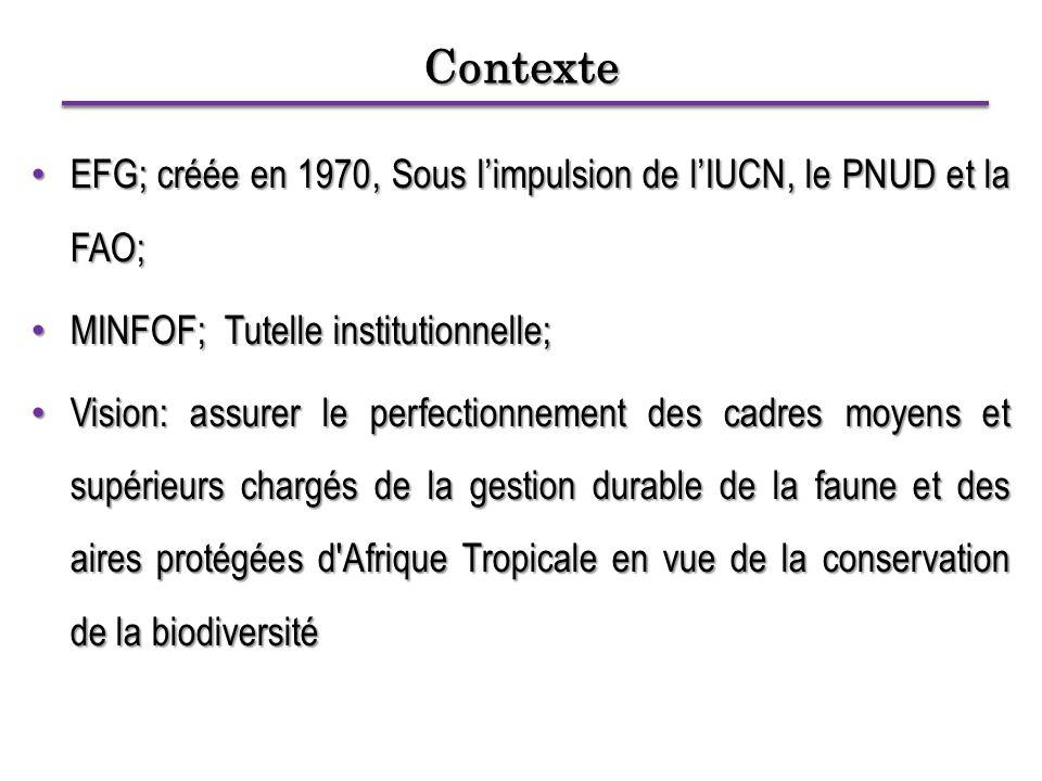 Contexte EFG; créée en 1970, Sous l'impulsion de l'IUCN, le PNUD et la FAO; EFG; créée en 1970, Sous l'impulsion de l'IUCN, le PNUD et la FAO; MINFOF; Tutelle institutionnelle; MINFOF; Tutelle institutionnelle; Vision: assurer le perfectionnement des cadres moyens et supérieurs chargés de la gestion durable de la faune et des aires protégées d Afrique Tropicale en vue de la conservation de la biodiversité Vision: assurer le perfectionnement des cadres moyens et supérieurs chargés de la gestion durable de la faune et des aires protégées d Afrique Tropicale en vue de la conservation de la biodiversité