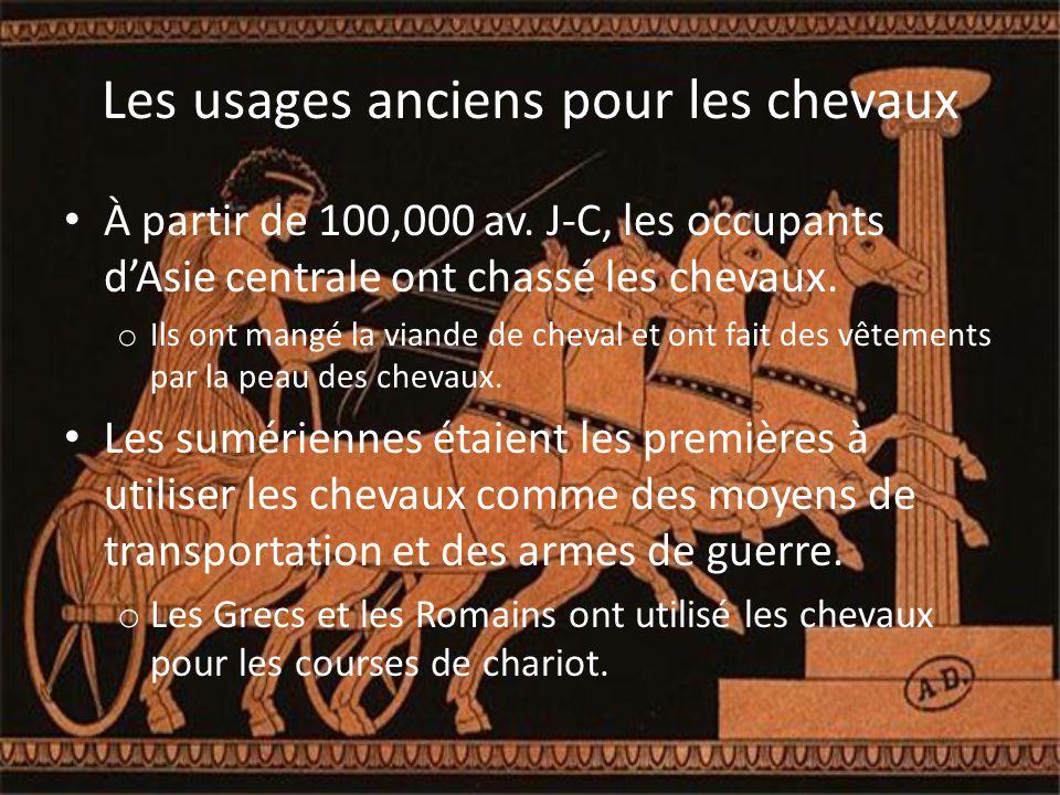 Les Chevaux pendant les Guerres L'utilisation de chevaux comme des armes a commencé avec les chars Sumériennes et Romains.