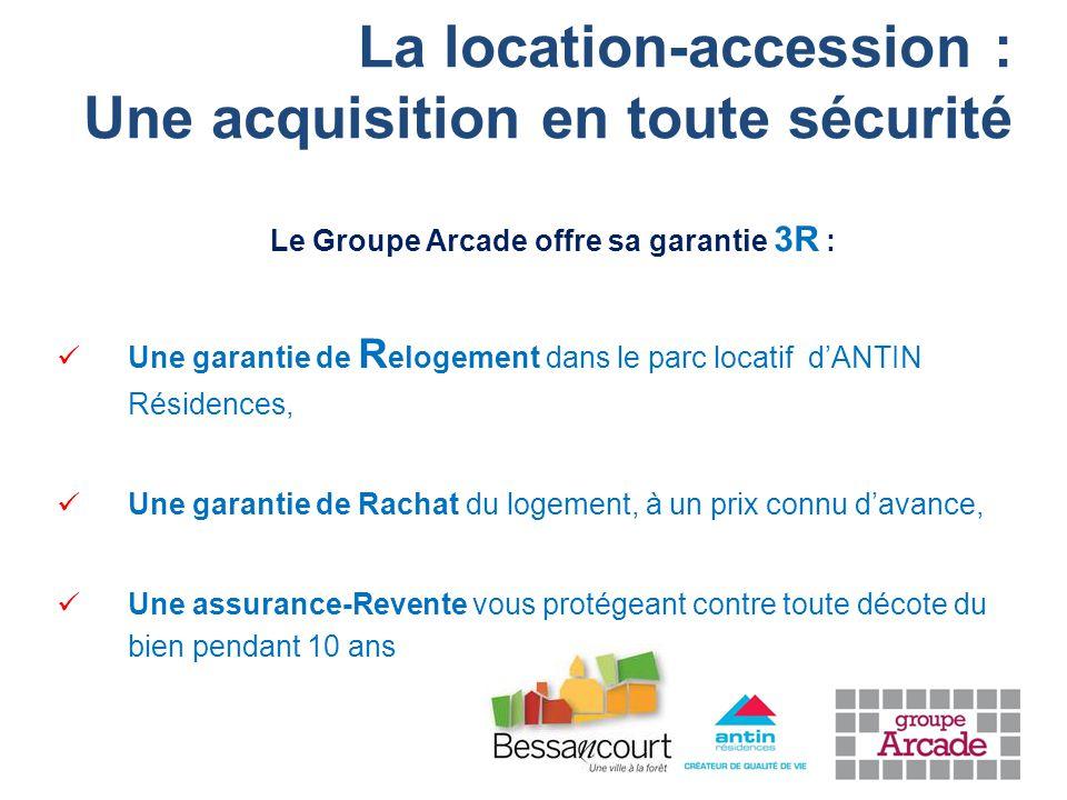 La location-accession : Une acquisition en toute sécurité Le Groupe Arcade offre sa garantie 3R : Une garantie de R elogement dans le parc locatif d'ANTIN Résidences, Une garantie de Rachat du logement, à un prix connu d'avance, Une assurance-Revente vous protégeant contre toute décote du bien pendant 10 ans