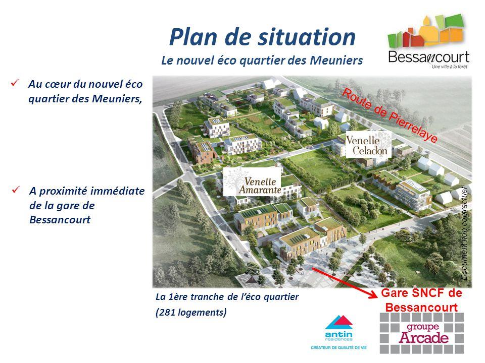 Au cœur du nouvel éco quartier des Meuniers, Plan de situation Le nouvel éco quartier des Meuniers Gare SNCF de Bessancourt Route de Pierrelaye A prox