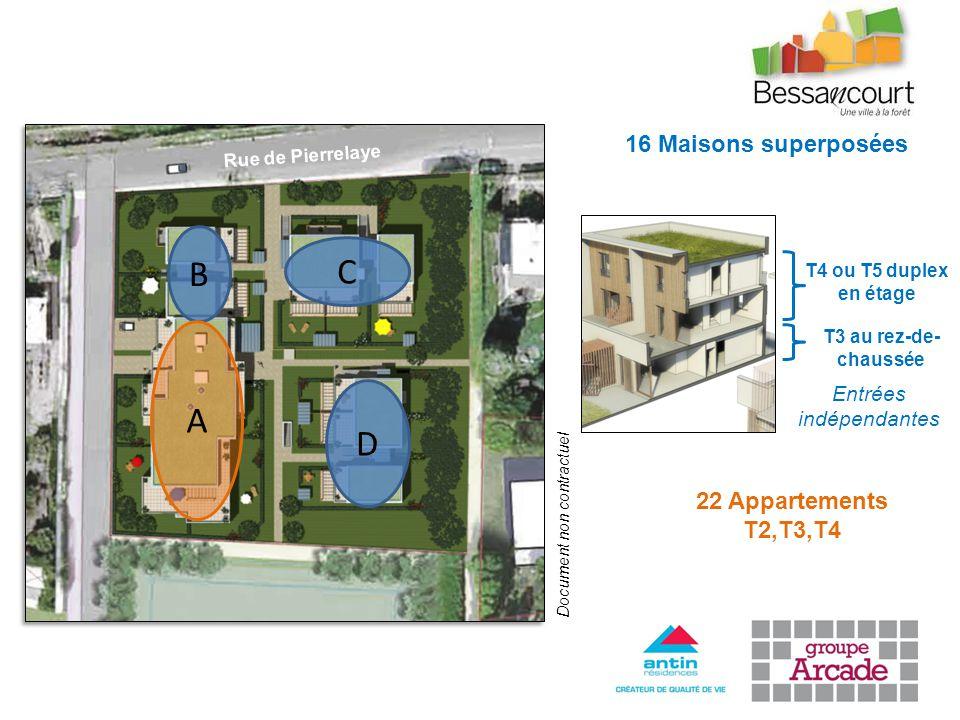 C D B 16 Maisons superposées 22 Appartements T2,T3,T4 A Document non contractuel T3 au rez-de- chaussée T4 ou T5 duplex en étage Rue de Pierrelaye Entrées indépendantes
