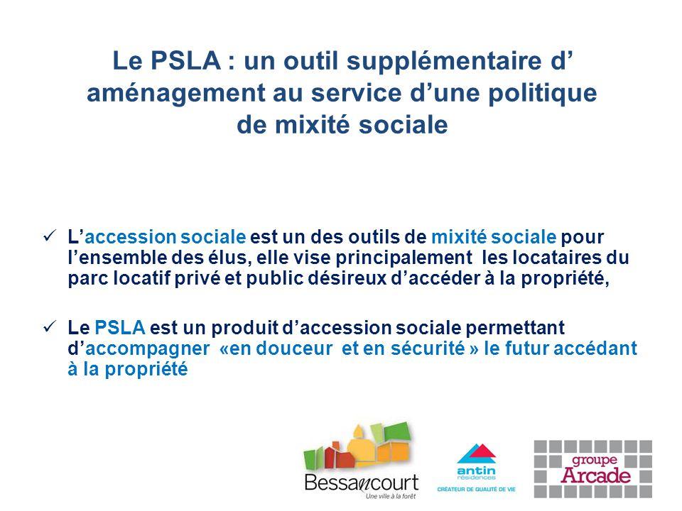 L'accession sociale est un des outils de mixité sociale pour l'ensemble des élus, elle vise principalement les locataires du parc locatif privé et public désireux d'accéder à la propriété, Le PSLA est un produit d'accession sociale permettant d'accompagner «en douceur et en sécurité » le futur accédant à la propriété Le PSLA : un outil supplémentaire d' aménagement au service d'une politique de mixité sociale