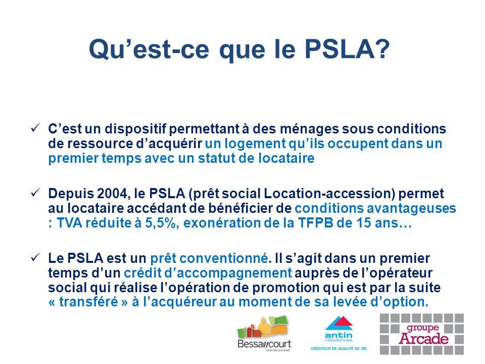 C'est un dispositif permettant à des ménages sous conditions de ressource d'acquérir un logement qu'ils occupent dans un premier temps avec un statut de locataire Depuis 2004, le PSLA (prêt social Location-accession) permet au locataire accédant de bénéficier de conditions avantageuses : TVA réduite à 5,5%, exonération de la TFPB de 15 ans… Le PSLA est un prêt conventionné.